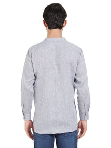Grey Linen Chinese Collar Shirt