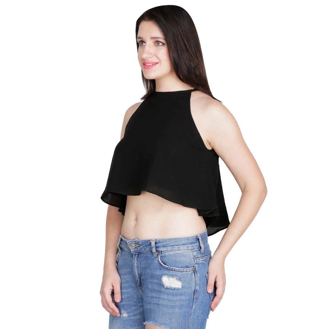 Black Flared Crop Top