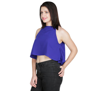 Ink Blue Flared Crop Top