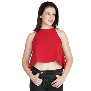 Red Flared Crop Top