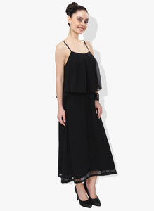 Black Georgette Dress With Flap Panel