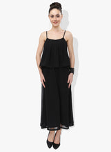 Load image into Gallery viewer, Black Georgette Dress With Flap Panel