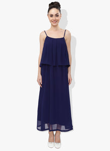 Navy Blue Georgette Dress With Flap Panel