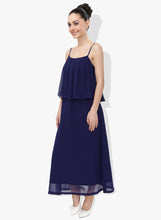 Load image into Gallery viewer, Navy Blue Georgette Dress With Flap Panel