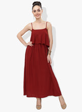 Load image into Gallery viewer, Maroon Flap Maxi Dress