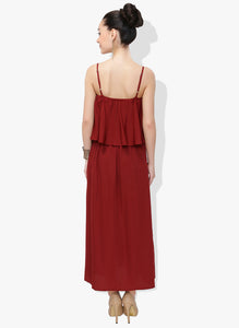 Maroon Flap Maxi Dress