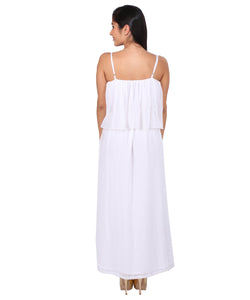 White Flapped Pleated Dress