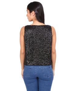 Black Sequinned Crop Top