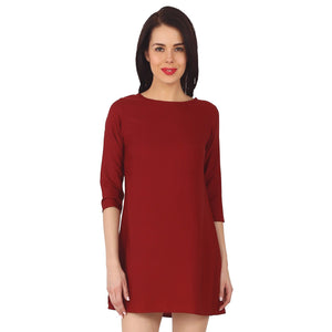 Red Polyester Short Dress