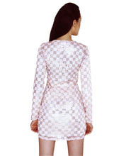Load image into Gallery viewer, Pastel Checkered Sequinned Bodycon
