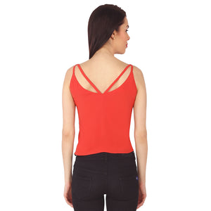 Red Deep Back Strapped Top