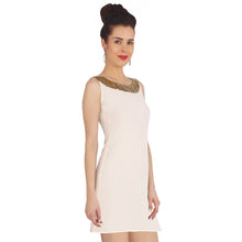 Load image into Gallery viewer, White Dress With A Sequins Neck