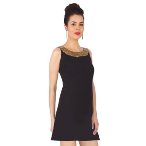Little Black Dress With Sequins Neck