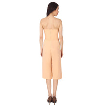 Load image into Gallery viewer, Nude Coloured Off Shoulder Polyester Jumpsuit With Broad Bottom