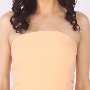 Nude Coloured Off Shoulder Polyester Jumpsuit With Broad Bottom