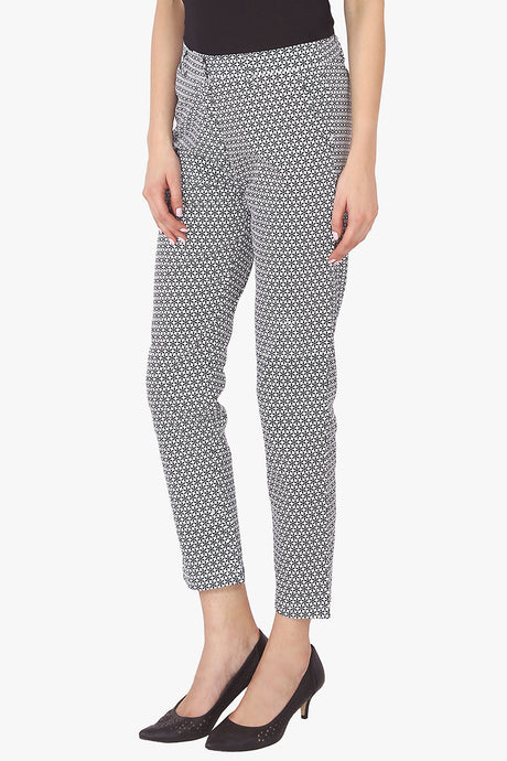 Black and White Printed Fitted Pants