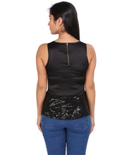 Load image into Gallery viewer, Black Peplum Bling Top