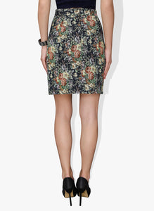 Thick Material Floral Designed Pencil Short Skirt