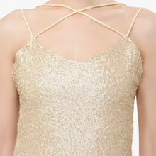 Load image into Gallery viewer, Light Golden Open Back Sequins Dress
