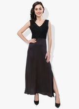 Load image into Gallery viewer, Black Contrasting Fabric Long Dress