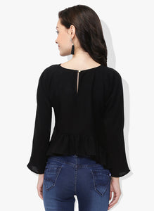 Black Asymmetric Frilled Top