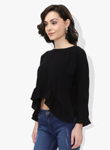 Load image into Gallery viewer, Black Asymmetric Frilled Top