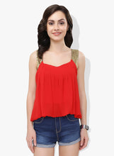 Load image into Gallery viewer, Red Sequinned Georgette Balloon Top