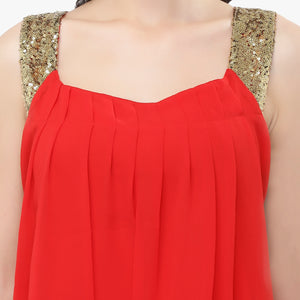 Red Sequinned Georgette Balloon Top