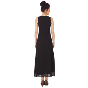 Black Georgette Embellished Maxi Dress