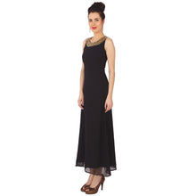 Load image into Gallery viewer, Black Georgette Embellished Maxi Dress