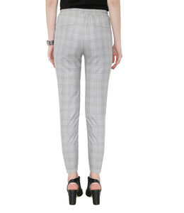 Grey Checks Formal Pants