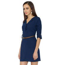 Load image into Gallery viewer, Navy Blue Shirt Dress