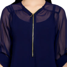 Load image into Gallery viewer, Navy Blue Sheer Zip Top