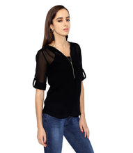 Load image into Gallery viewer, Black Zipped Sheer Top