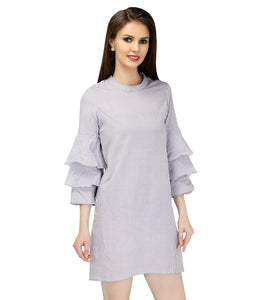 Grey Stripes Cotton Dress