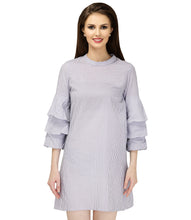 Load image into Gallery viewer, Grey Stripes Cotton Dress