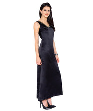 Load image into Gallery viewer, Black Satin Maxi Dress
