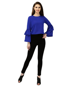 Blue Polyester Belle Sleeves Top