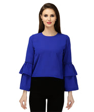 Load image into Gallery viewer, Blue Polyester Belle Sleeves Top