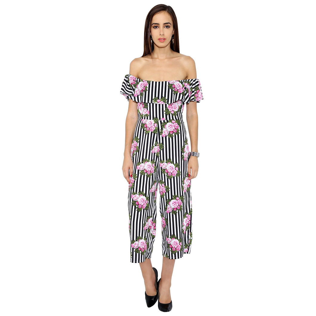Floral And Striped Frilled Jumpsuit