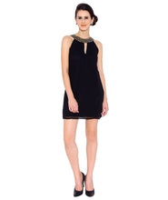 Load image into Gallery viewer, Black Georgette Dress with Stones on the Neck