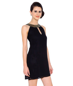 Black Georgette Dress with Stones on the Neck