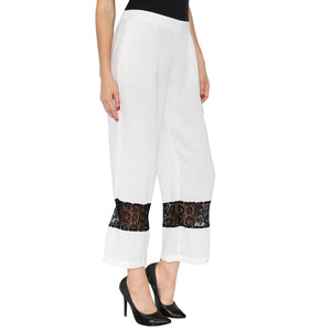 White Pants With Black Lace