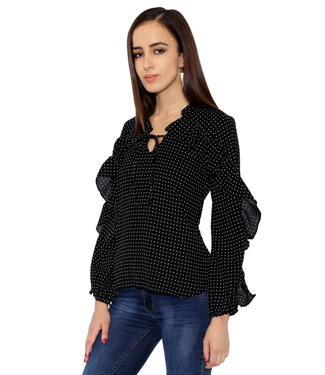 Polka Dot Frilled Top