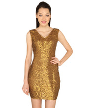 Load image into Gallery viewer, Antique Golden Sequinned Bodycon