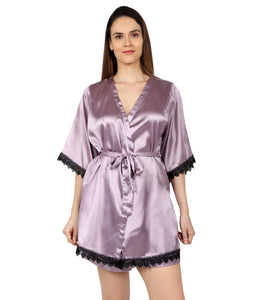 Lilac Satin Lace Robe