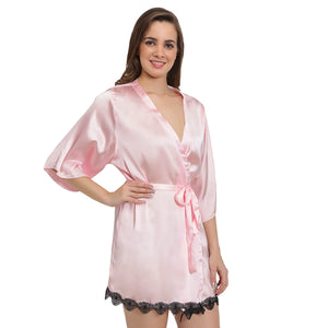 Pink Satin Lace Robe
