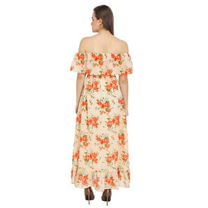 Floral Printed Bardot Dress