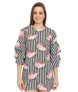 Stripes & Floral Belle Sleeves Dress