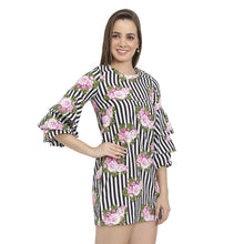 Load image into Gallery viewer, Stripes & Floral Belle Sleeves Dress